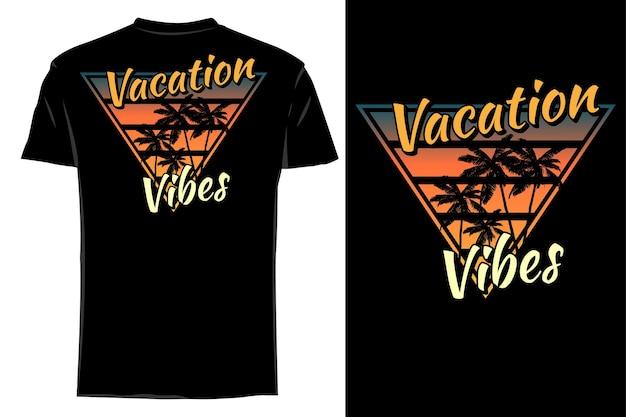 Mockup t-shirt silhouet vakantie vibes retro vintage
