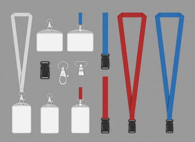 Mockup van badges van sponsoren. de sponsorbadges van de bedrijfs collectieve kaartgebeurtenis met de realistische illustratie van het touwwerksleutelkoord