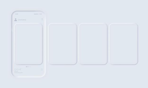Mockup van de mobiele app met open foto sociaal netwerk