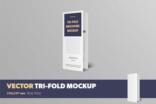 Mockup van een gesloten staand realistisch driebladig vooraanzicht standaardformaat vectorboekje