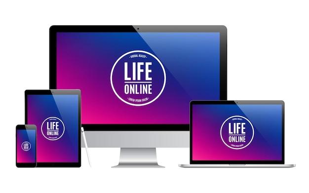 Mockup van gadgets en apparaten van stylus, smartphone, tablet, laptop en computermonitor met gekleurde geïsoleerde schermbeveiliging