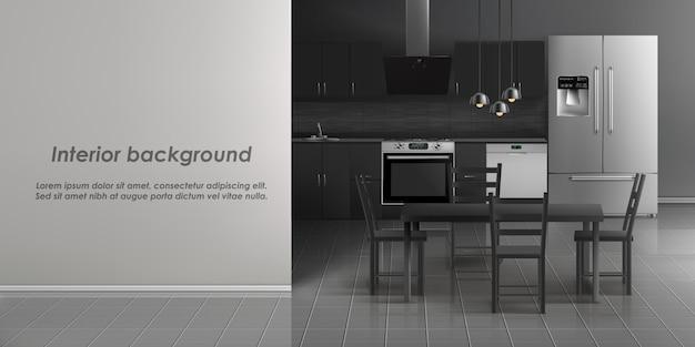 Mockup van het binnenland van de keukenruimte met huishoudapparaten, ijskast, fornuis met kooktoestel