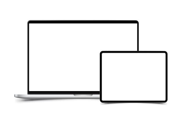 Mockup van realistische laptop met tablet. voorzijde met geïsoleerd scherm
