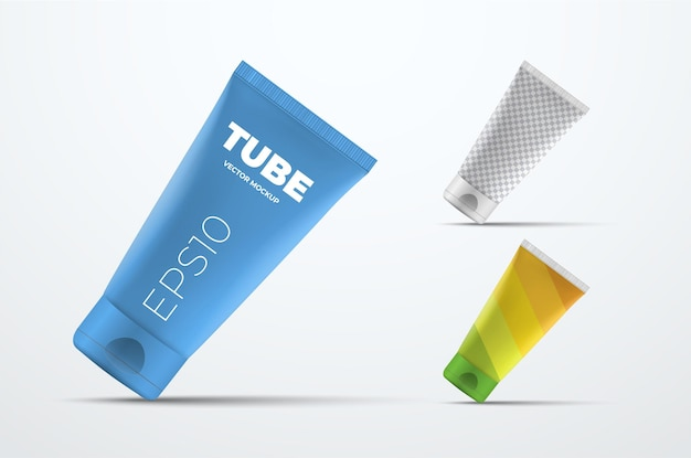 Mockup van vector realistische plastic buis voor crème of vloeistof die op de hoek van het deksel staat. sjabloon voor presentatie verpakkingsontwerp. set