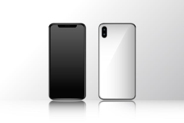 Mockup voor en achteraanzicht van de mobiele telefoon