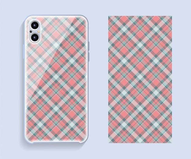 Mockup voor smartphone-omslag. sjabloon geometrisch patroon voor achterste deel van de mobiele telefoon. plat ontwerp. Premium Vector