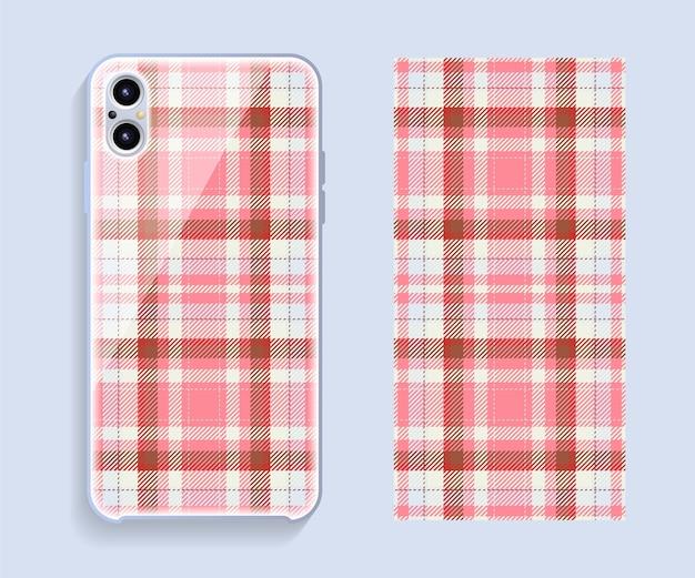 Mockup voor smartphone-omslag. sjabloon geometrisch patroon voor achterste deel van de mobiele telefoon. plat ontwerp.