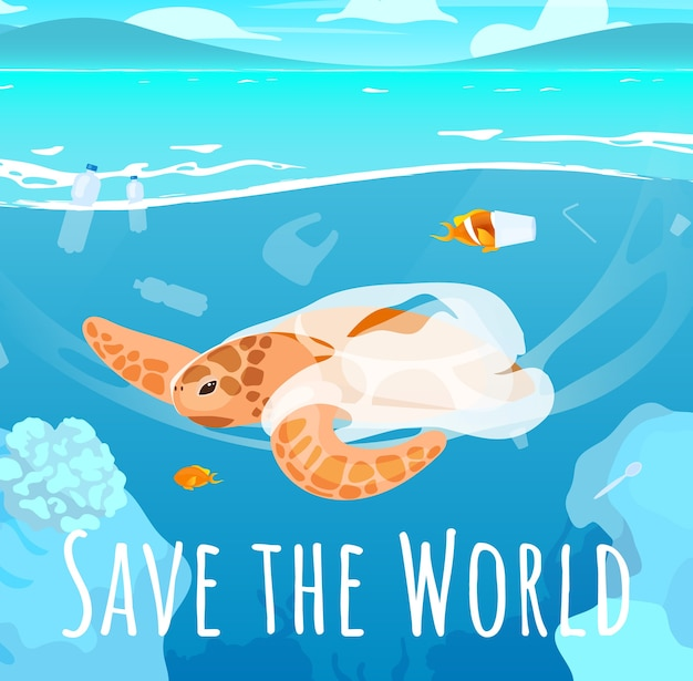 Mockup voor sociale media van de wereld opslaan. stop plastic vervuiling. reclame web banner ontwerpsjabloon. social media-booster, inhoudslay-out. promotie poster, gedrukte advertenties met platte illustraties