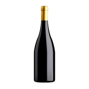 Mockup voor wijnflessen. rode wijn echte illustratie leeg. merlot, bordeaux, cabernet vintage vino-drankje. donkere glazen fles, elegante illustratie