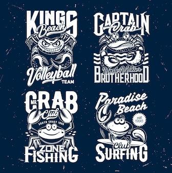 Mockups met krab-t-shirtprint met cartoonkrabben, grappige zeevruchten, schaaldieren, oceaangolven en surfplank