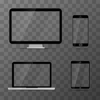 Mockups van monitor, laptop, zwarte tablet en smartphone