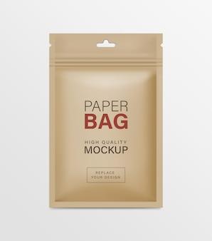 Mockups voor verpakking van papieren zakjes met ritssluiting