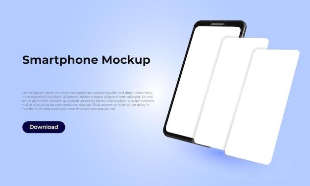 Mockupsjabloon voor smartphones voor de presentatie van toepassingen