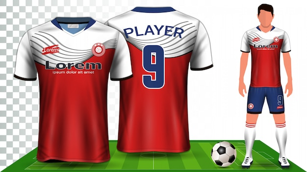 Mockupsjabloon voor voetbalkit uniforme presentatie