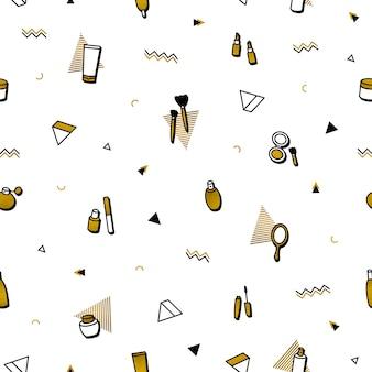 Mode achtergrond. gouden cosmetica naadloze patroon in memphis stijl.
