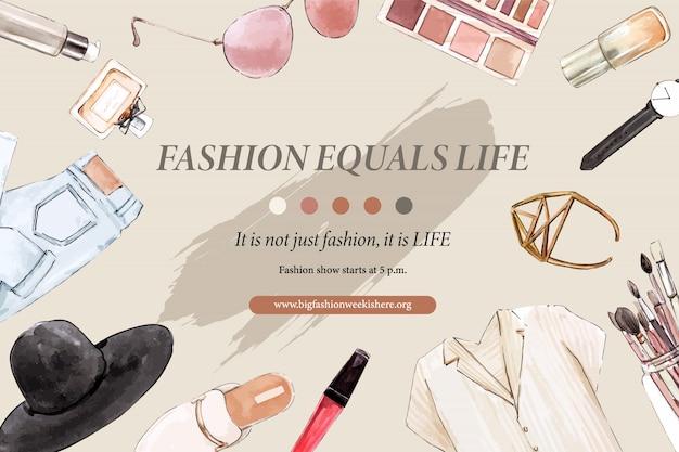 Mode-achtergrond met jeans, cosmetica, schoenen