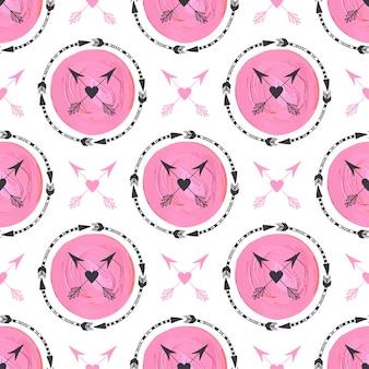 Mode achtergrond met pijlen en roze cirkels ornament. geometrisch ontwerp. stammenpijl naadloze vectorpatroon het schilderen textuur