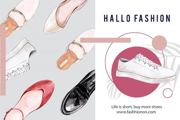 Mode-achtergrond met verschillende schoenen