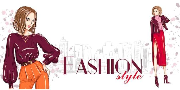 Mode banner met twee stijlvolle vrouwen sjabloon