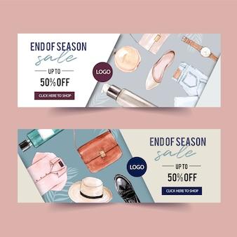 Mode bannerontwerp met parfum, outfit, accessoires