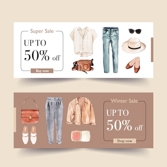 Mode bannerontwerp met shirt, broek, schoenen
