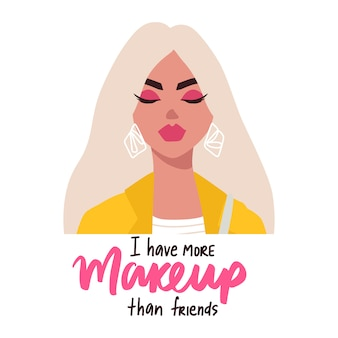 Mode blonde vrouw met een bril in platte trendy stijl en make-up offerte. meisjesportret, inspiratie zin.