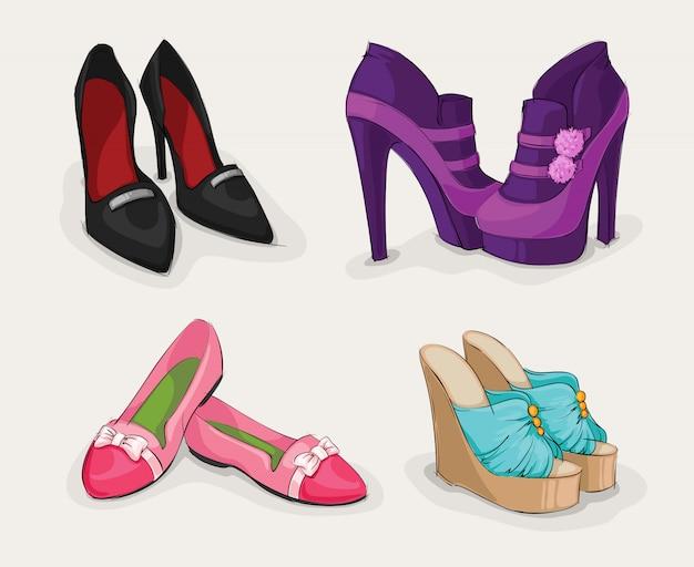 Mode-collectie van damesschoenen