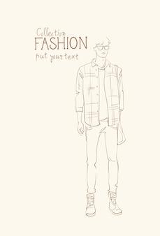 Mode-collectie van kleding mannelijk model draagt trendy kleding schets