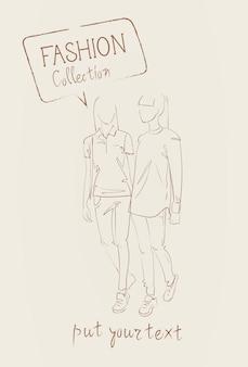 Mode-collectie van kleding set van modellen dragen van trendy kleding schets