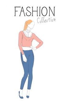 Mode-collectie van kleding vrouwelijk model dragen trendy kleding schets