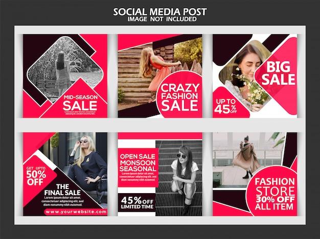 Mode creatieve sociale media verkooppost