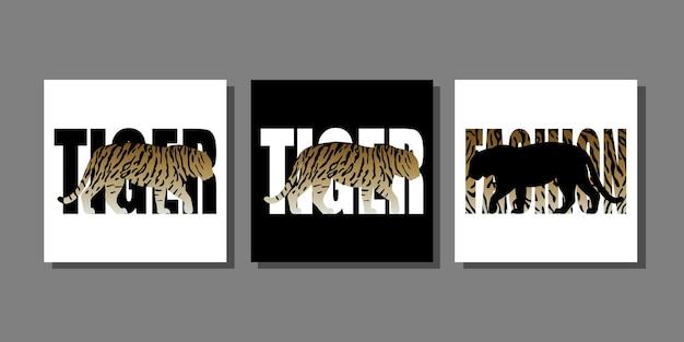 Mode dierenprints set met tijgersilhouet en tijgerpatroon