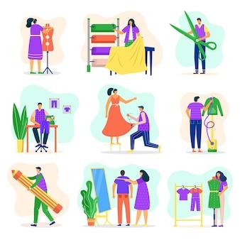 Mode er, naaisterset, op maat maken, meten en naaien voor cartoonillustraties van klanten. modieuze kleding en ouderwets winkelontwerp. kledingindustrie.