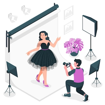 Mode fotoshoot concept illustratie