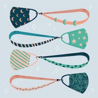 Mode gezichtsmasker lanyard set