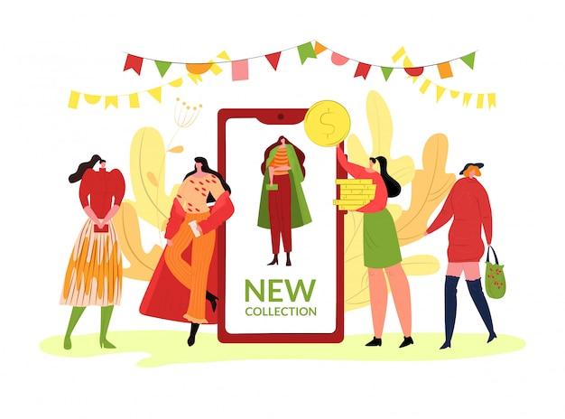 Mode herfst kleding collectie, illustratie. het karakter van meisjesmensen in de kleren van de seizoenstijl, dalingstrend bij smartphone. model karakter poseren op cartoon straat show.