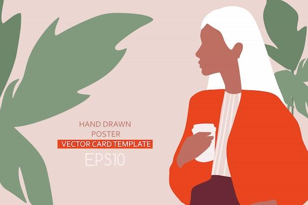 Mode-illustratie met jonge vrouw. mooi meisje met kop koffie.