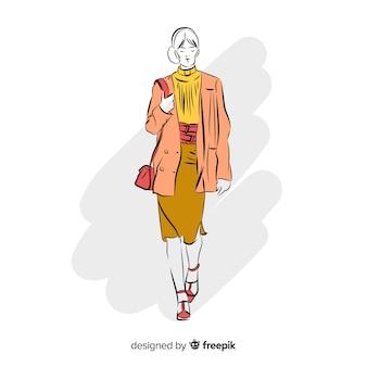 Mode illustratie met vrouwelijk model