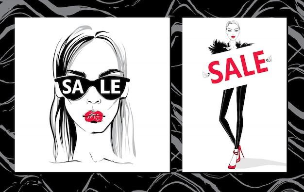 Mode illustratie. vector stijlvolle meisjes.