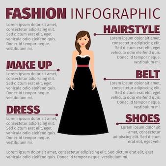 Mode infographic met brunette in jurk
