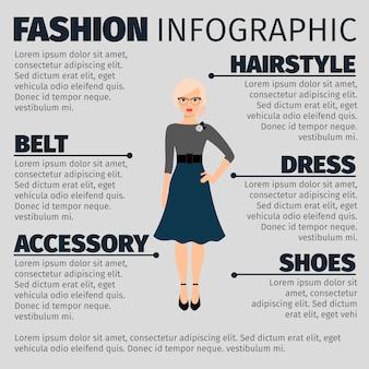 Mode infographic met vrouwelijke leraar