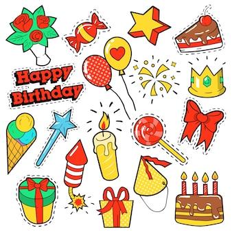 Mode-insignes, patches, stickers verjaardagsthema. happy birthday party-elementen in komische stijl met cake, ballonnen en geschenken. illustratie