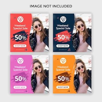 Mode instagram advertenties vierkante banner