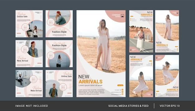 Mode instagram post en verhalen sjabloon set