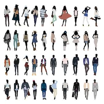 Mode jonge mensen silhouet vector