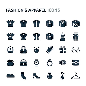 Mode & kleding icon set. fillio black icon-serie.