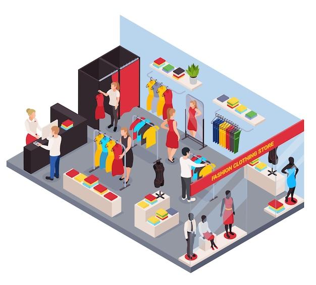 Mode kleding winkel isometrische compositie met mensen die kleding passen en kopen 3d illustratie
