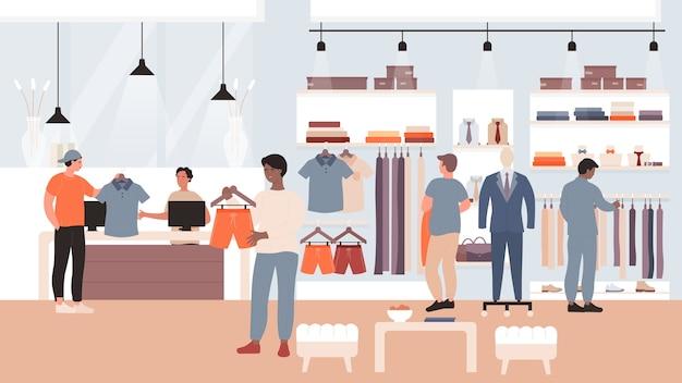 Mode kortingsverkoop in kledingman winkel met koperskarakters die winkelen