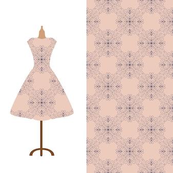 Mode kunst collectie illustratie vintage kleermakers dummy jurk model en kleurrijk naadloos patroon