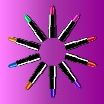 Mode lippenstift advertenties, kleurrijke lippenstiften gerangschikt in een cirkel geïsoleerd op roze achtergrond. 3d illustratie, trendy cosmetisch ontwerp voor reclame